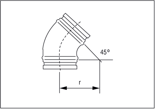 B45-125 IM0001201.PNG 45° elbow, drawn incl. lip seal, DN 125, for connecting folded spiral-seam ducts to the WS 150, WS 160 Flat or WS 170 central ventilation units