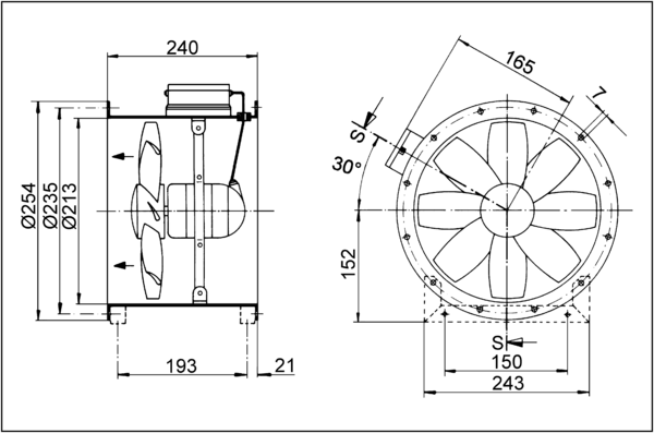 DZR 20/2 B Ex e IM0001417.PNG Axial duct fan, DN 200, three-phase AC, explosion proof