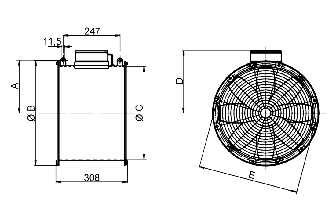 Ventilation Solutions For Residential And Industrial Use Alternating Current Diagram B The Produced In Ezg 30 4 Im0001693 Axial Greenhouse Fan Dn 300