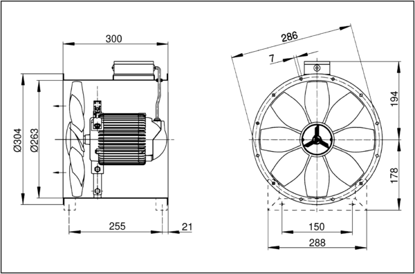 DZR 25/42 B IM0001723.PNG Axial duct fan, DN 250, three-phase AC, pole-changeable