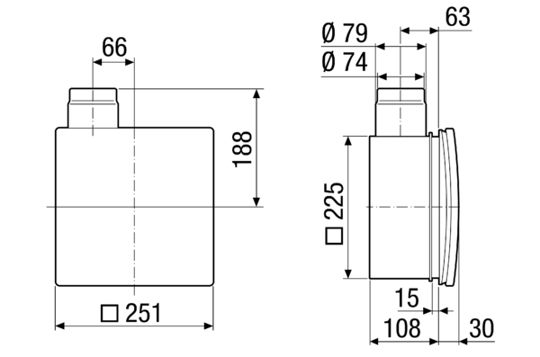 ER - UPD IM0006366.PNG Recessed-mounted housing with fire protection shut-off device for fitting an ER 60 / ER 100 fan or Centro-M / Centro-E / Centro-H exhaust air element, second room connection possible on right/left/at bottom