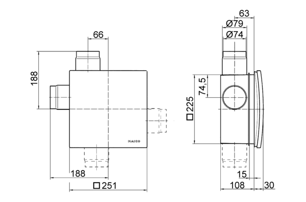 ER - UPD IM0006368.PNG Recessed-mounted housing with fire protection shut-off device for fitting an ER 60 / ER 100 fan or Centro-M / Centro-E / Centro-H exhaust air element, second room connection possible on right/left/at bottom