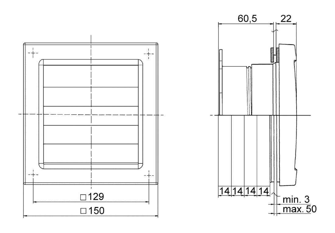 Maico AP 100 BOUCHON CLAPET ø100mm 21x150mm lui-même travaillé mur extérieur Purge