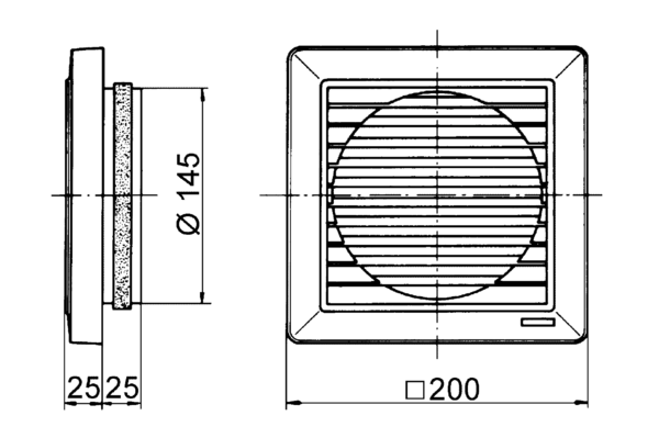 SG 15 IM0007133.PNG External grille for ventilation and air extraction, DN 150