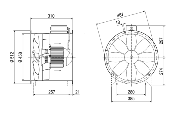 DZL 45/4 B IM0014288.PNG Axial duct fan, DN 450, three-phase AC