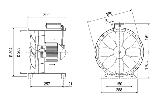 EZL 25/2 B IM0014387.PNG Axial duct fan, DN 250, alternating current